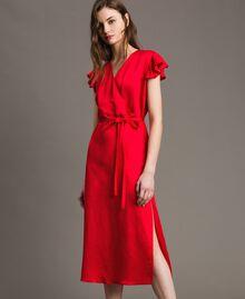 "Vestido largo de raso de lino Rojo ""Lipstick Red"" Mujer 191TT2303-02"