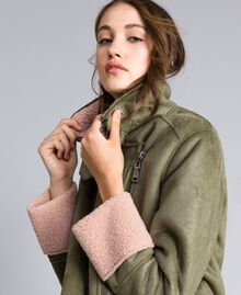 "Faux shearling jacket Bicolour Alpine Green / ""Nude"" Pink Woman JA82G1-04"
