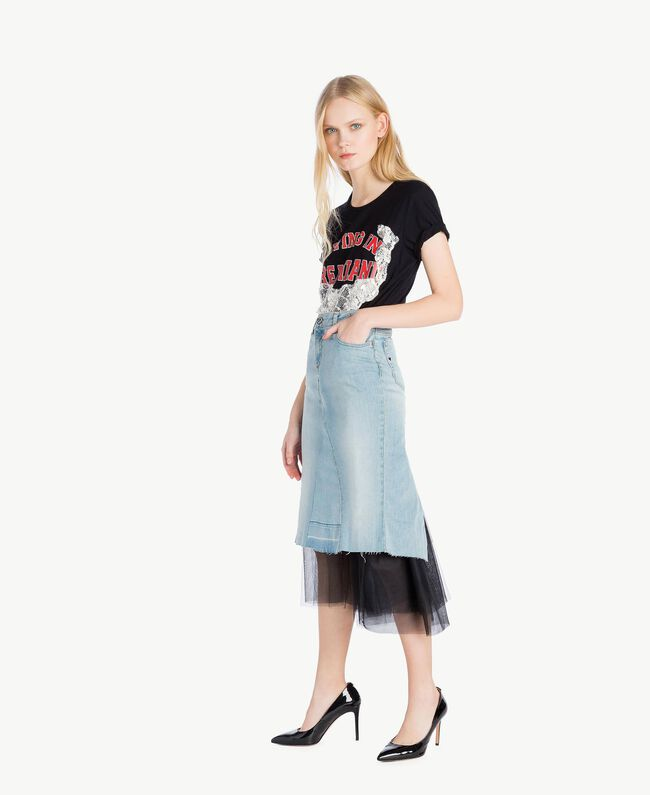 Denim skirt Denim Blue Woman YS82QY-05