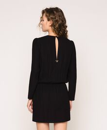 Overlapping crêpe dress Black Woman 201LB25HH-03