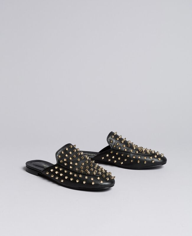 Leather studded mules Black Woman CA8TFG-03