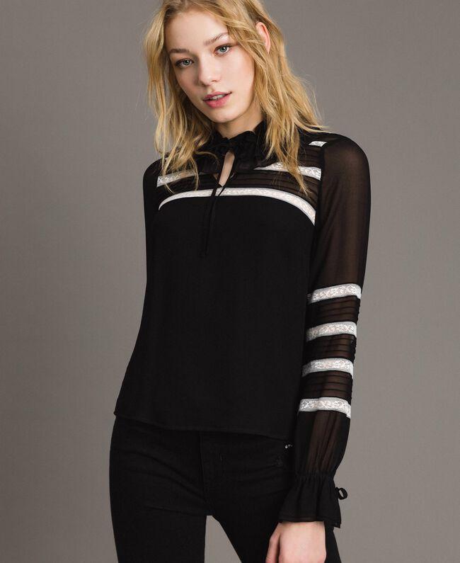 "Georgette and lace blouse Bicolour Black / ""Snow"" White Woman 191TP2122-01"