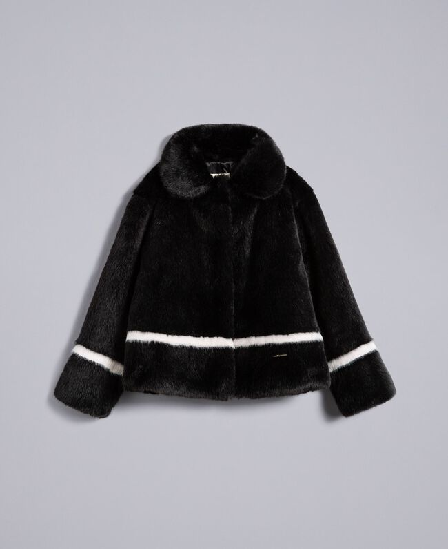 "Faux fur jacket Bicolour Black / ""Blush"" Pink Child GA82AN-01"