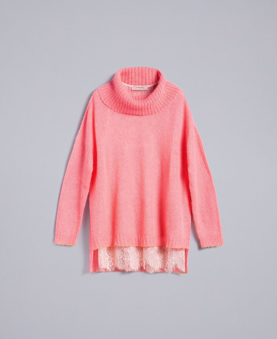 Maglia in mohair con top in pizzo Rosa Royal Pink Donna PA836F-0S