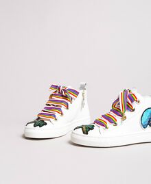 Leather sneakers with patch White Child 191GCJ146-01