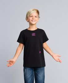 T-shirt unisexe junior en coton avec imprimé Noir Enfant QA8TMP-05