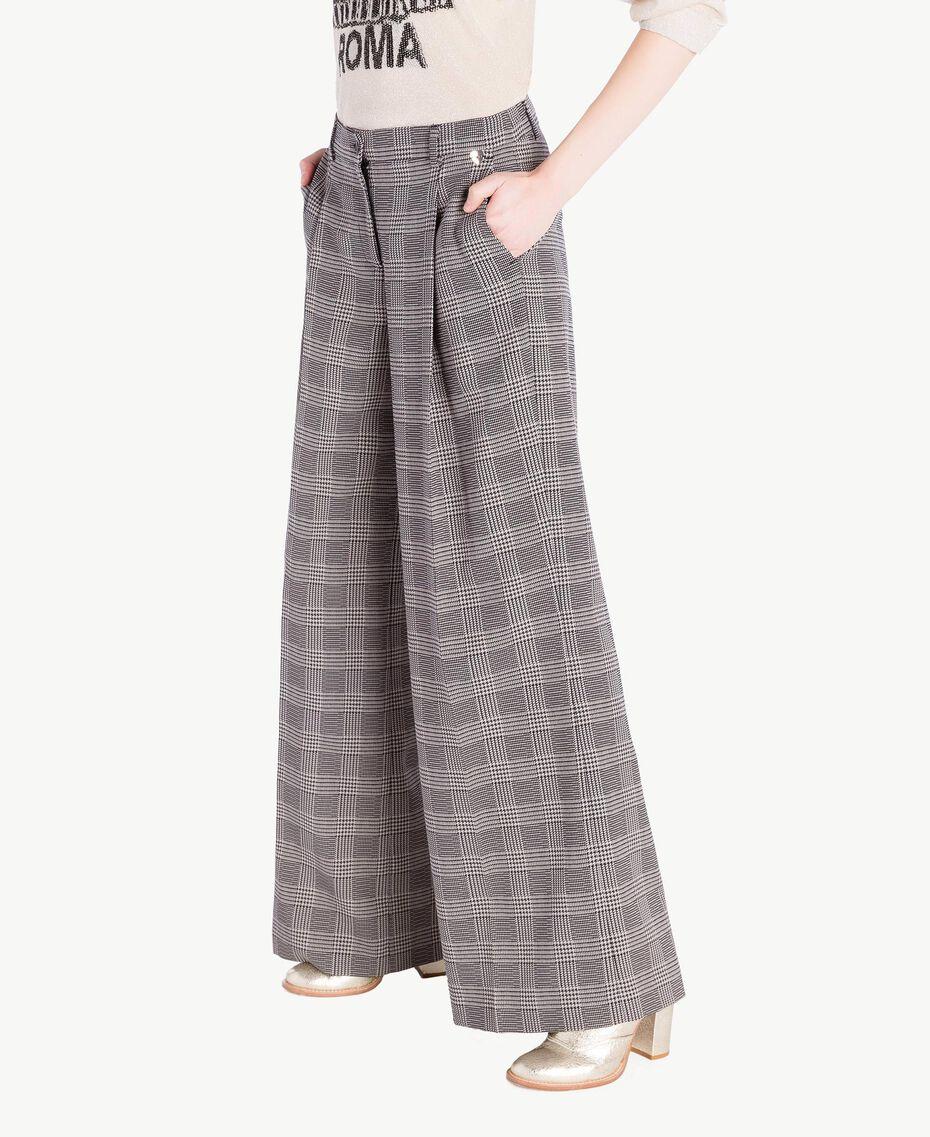 Pantalone palazzo check Jacquard Vichy Donna PS827Q-02