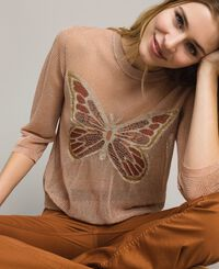 Lurex jumper with butterfly detail