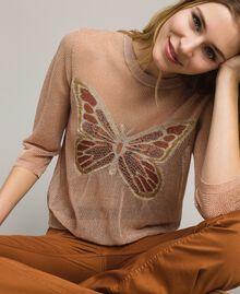 """Pull en lurex avec détail papillon Lurex Rose """"Sable Rose"""" Femme 191TT3101-01"""