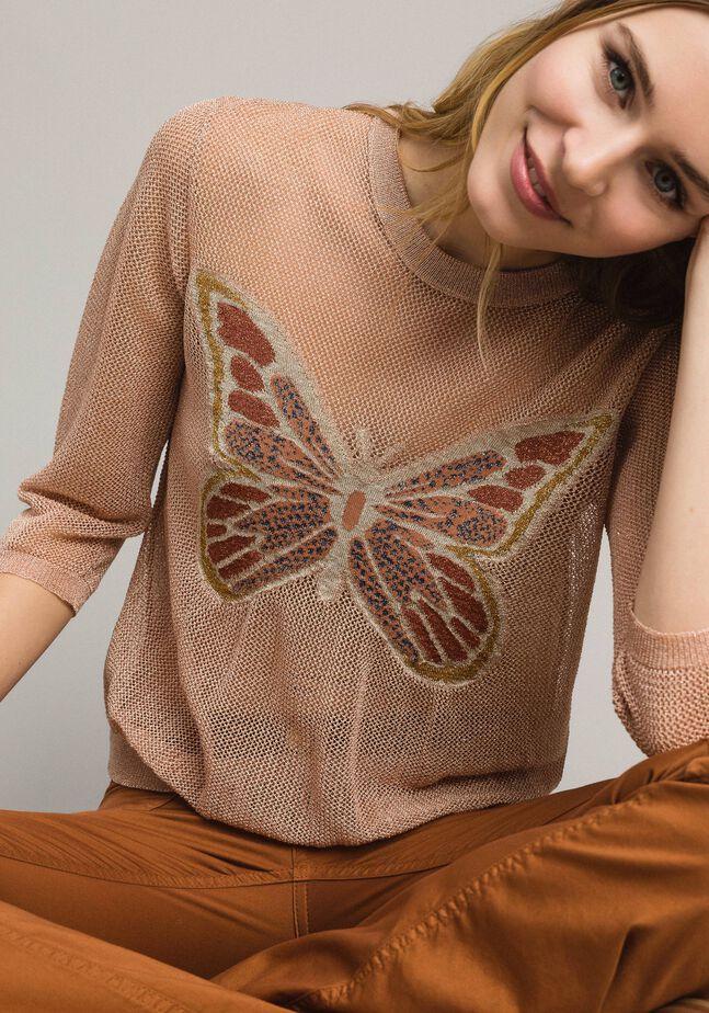 Lurex-Pullover mit Schmetterlings-Detail