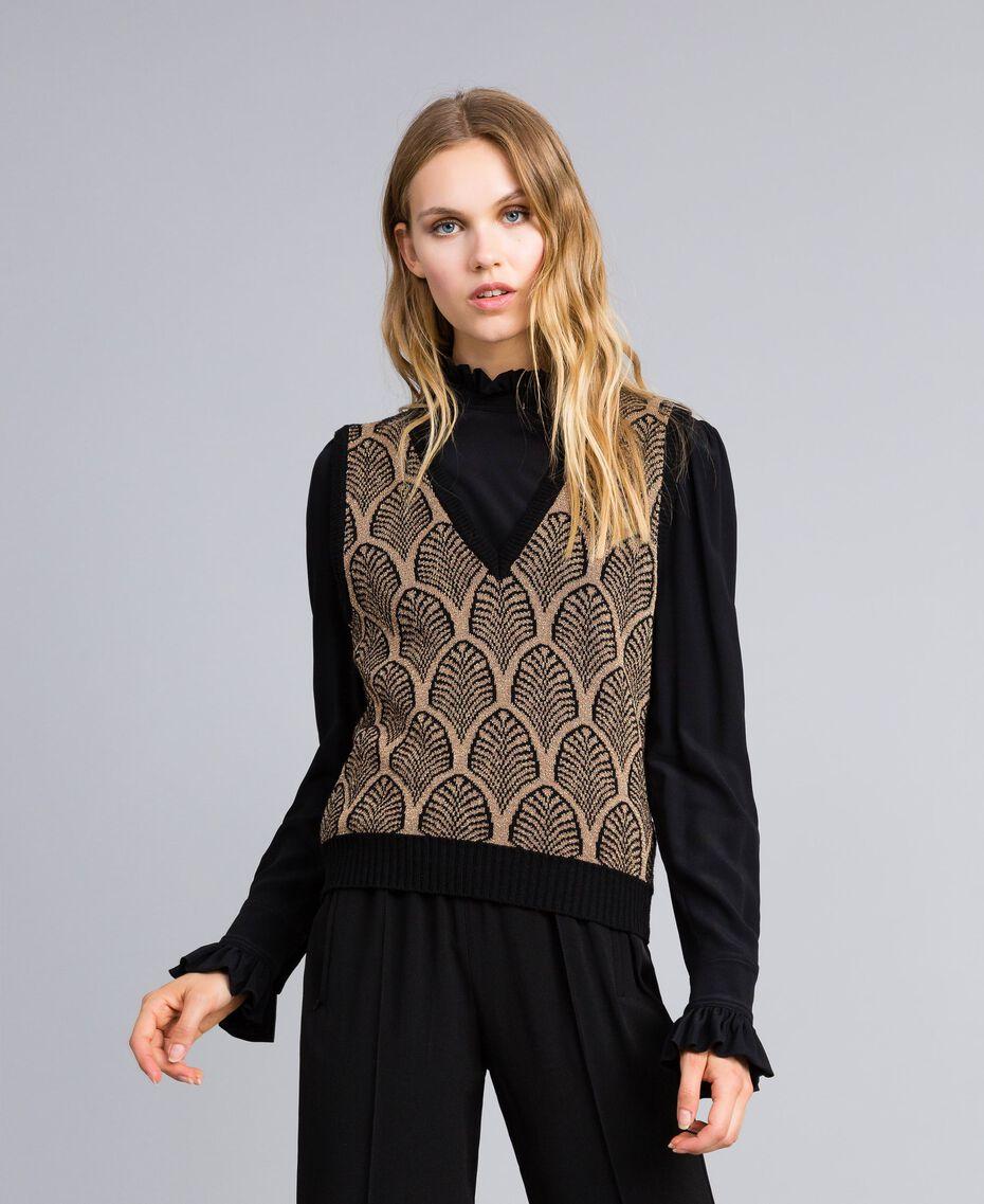 Gilet en laine mélangée et lurex jacquard Jacquard Noir Or Lurex Femme TA8321-02