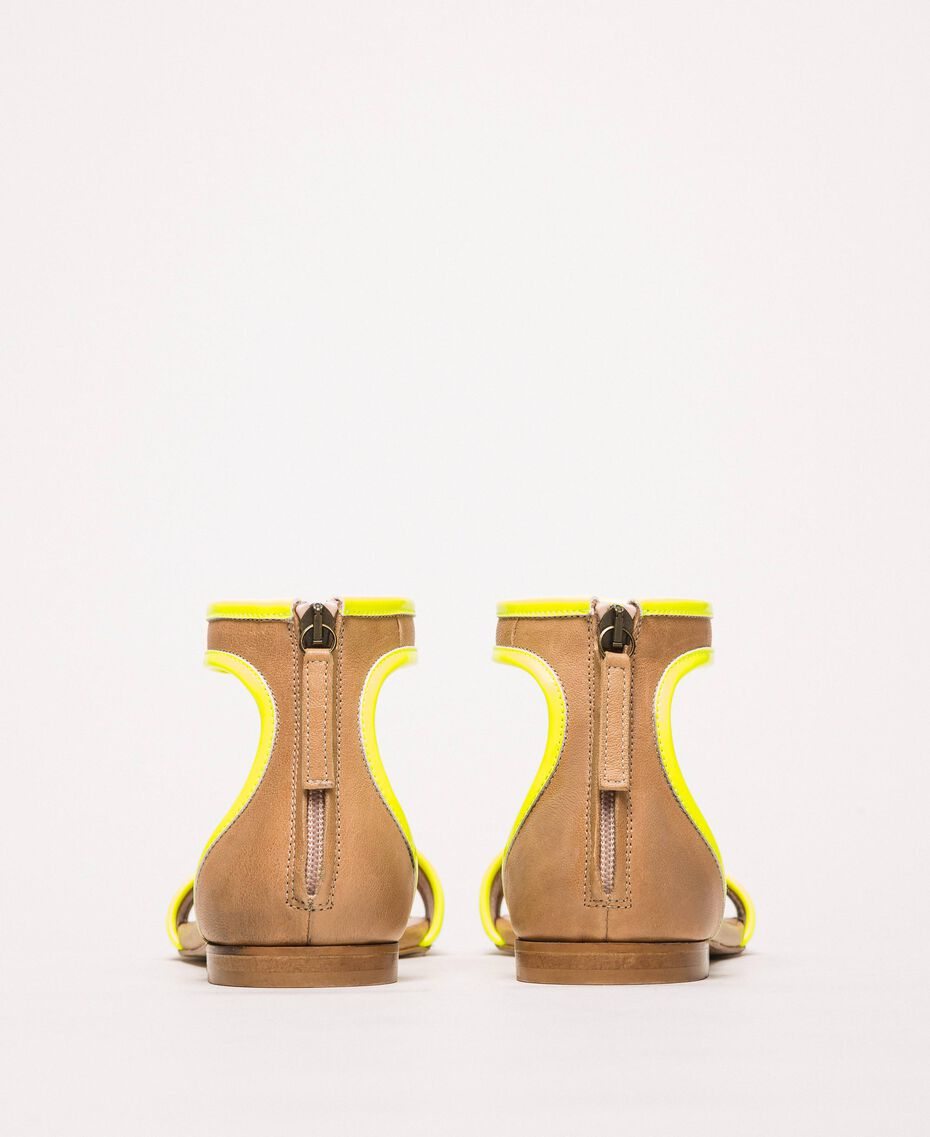 """Patent leather and leather flat sandals Two-tone """"Desert"""" Beige / Fluo Yellow Woman 201TCP014-02"""