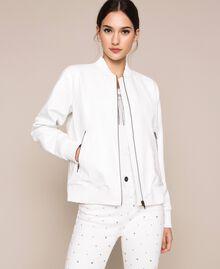 Crocodile print faux leather bomber jacket White Snow Woman 201TP2366-01