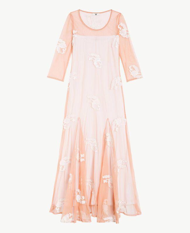 Langes Kleid mit Stickerei Elfenbein Frau MS8BJJ-01