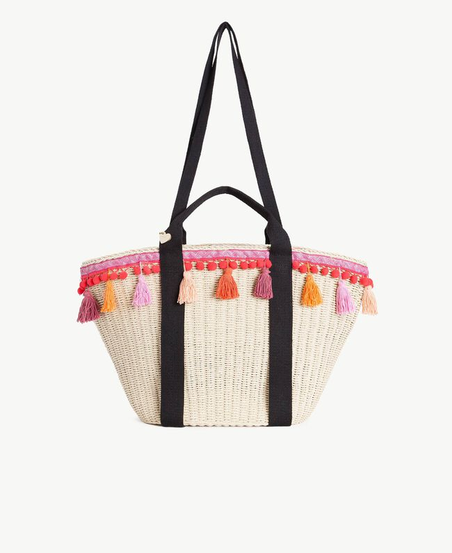 TWINSET Straw bag Multicolour Provocateur Pink / Orange / Black Woman OS8THB-01