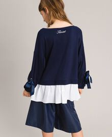 Sweat shirt au point de Milan et popeline Bicolore Indigo / Blanc Optique Enfant 191GJ2212-03