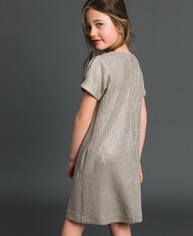 Laminated knit dress with brooch Pale Gold Yellow Child 192GJ2364-03