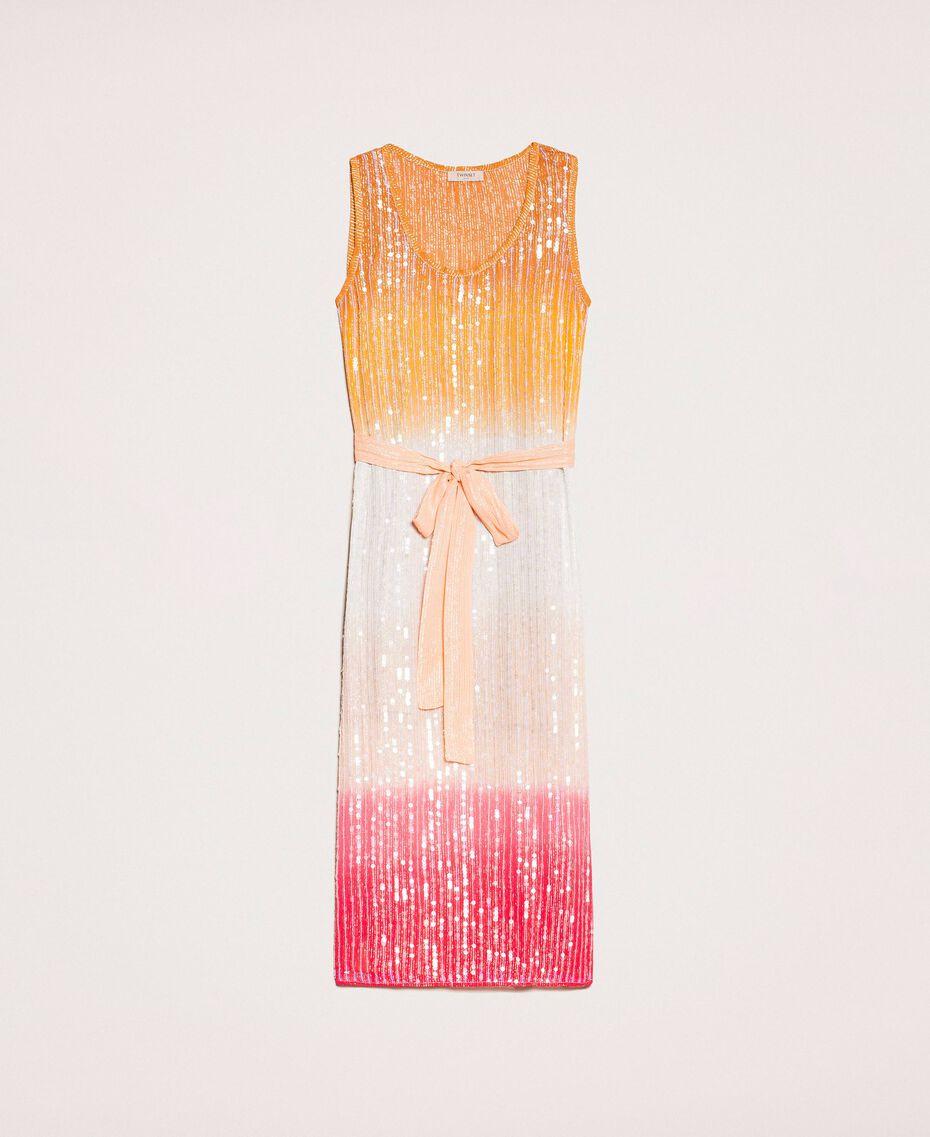 Платье в технике тай-дай со сплошной отделкой пайетками Разноцветный Батик Радужный Розовый женщина 201TT2330-0S