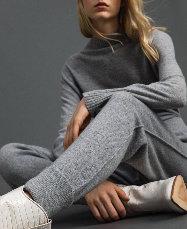 Pantalon de jogging en laine et cachemire Gris Mélangé Femme 192TT3024-04