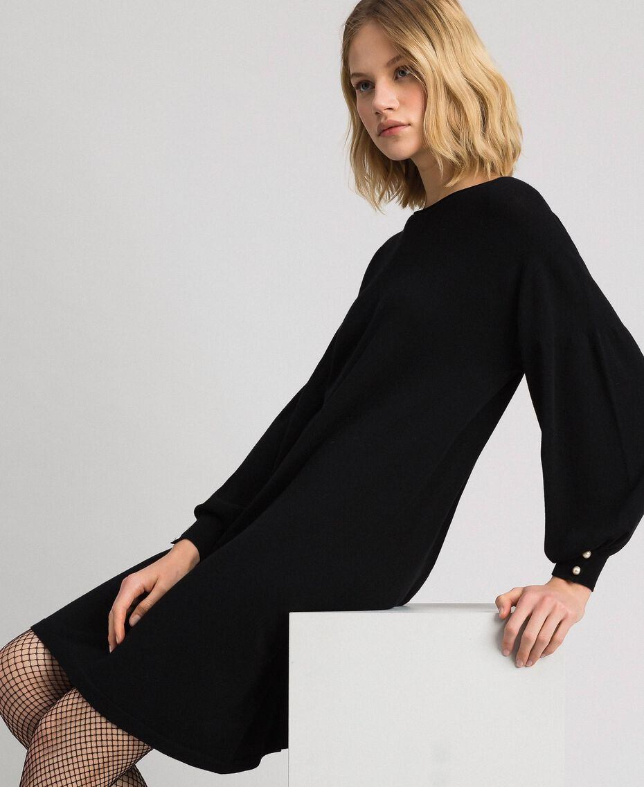 Balloon sleeve dress with pearl buttons Black Woman 192TP3241-02