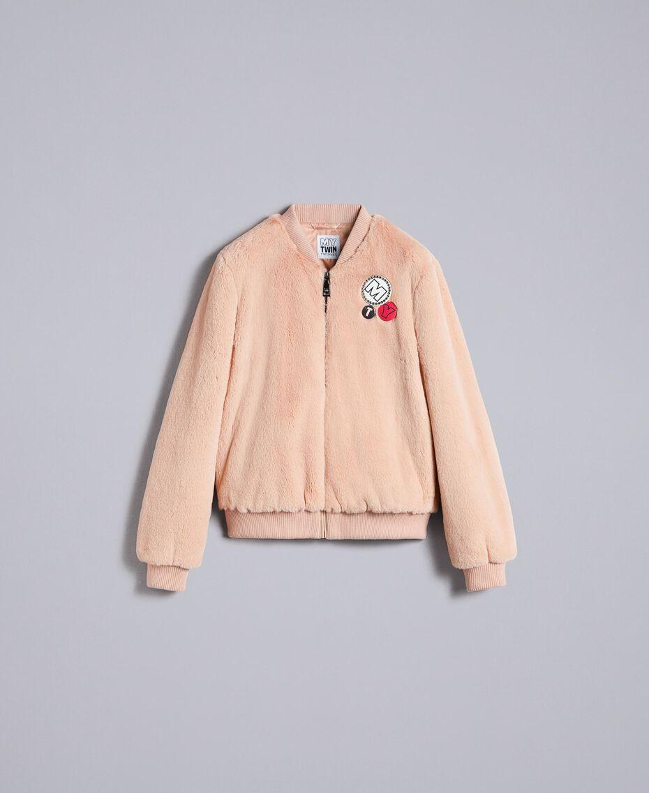"""Faux fur bomber jacket """"Nude"""" Beige Woman JA82KA-0S"""