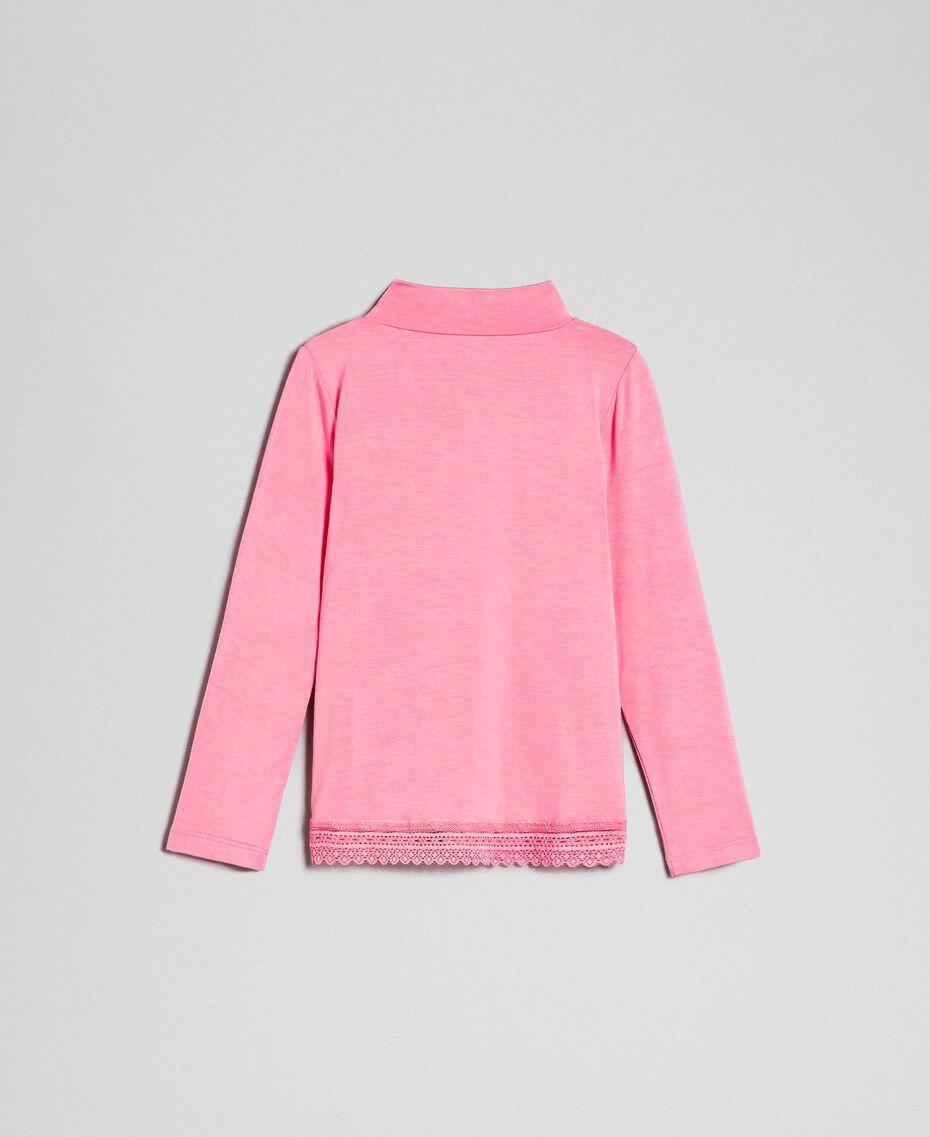 "T-shirt in jersey con pizzo Rosa ""Confetti"" Bambina FCN2D1-0S"