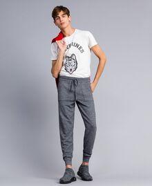 Pantalon de jogging en coton et laine Bicolore Blanc Mat / Noir Homme UA83BC-01