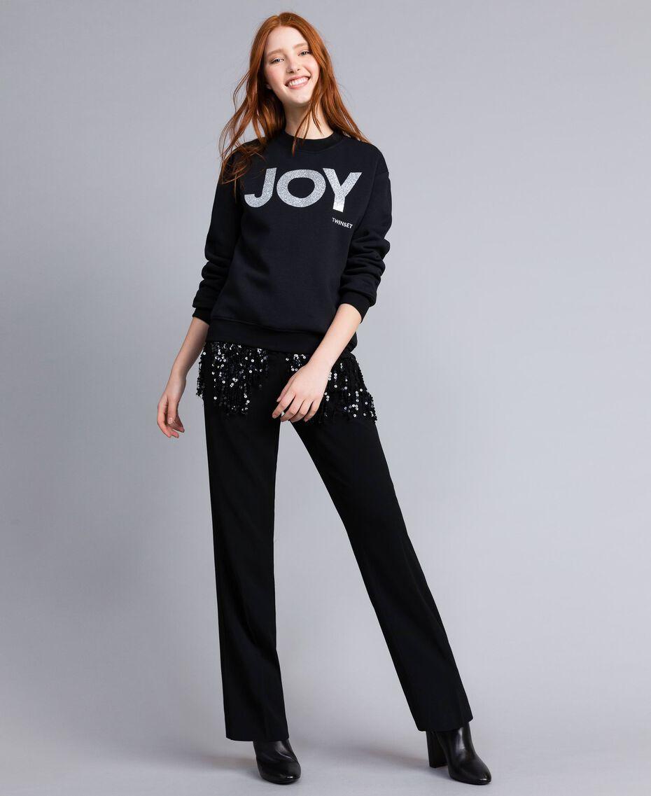 Cotton sweatshirt with glitter print Black Woman QA8TMA-0T