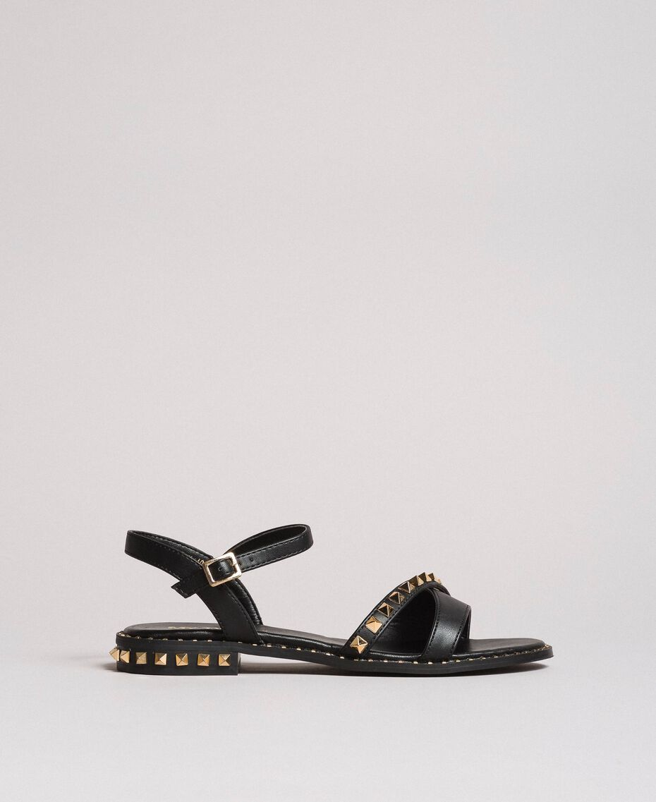 Sandalias de piel sintética con tachuelas Negro Mujer 191MCP192-02