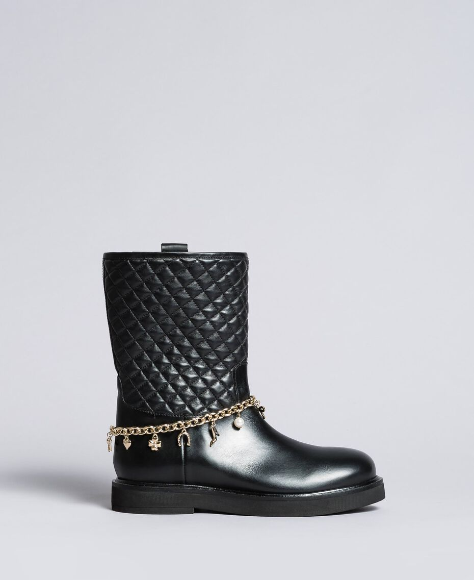 Leather boots with charm chain Black Woman CA8PLW-02