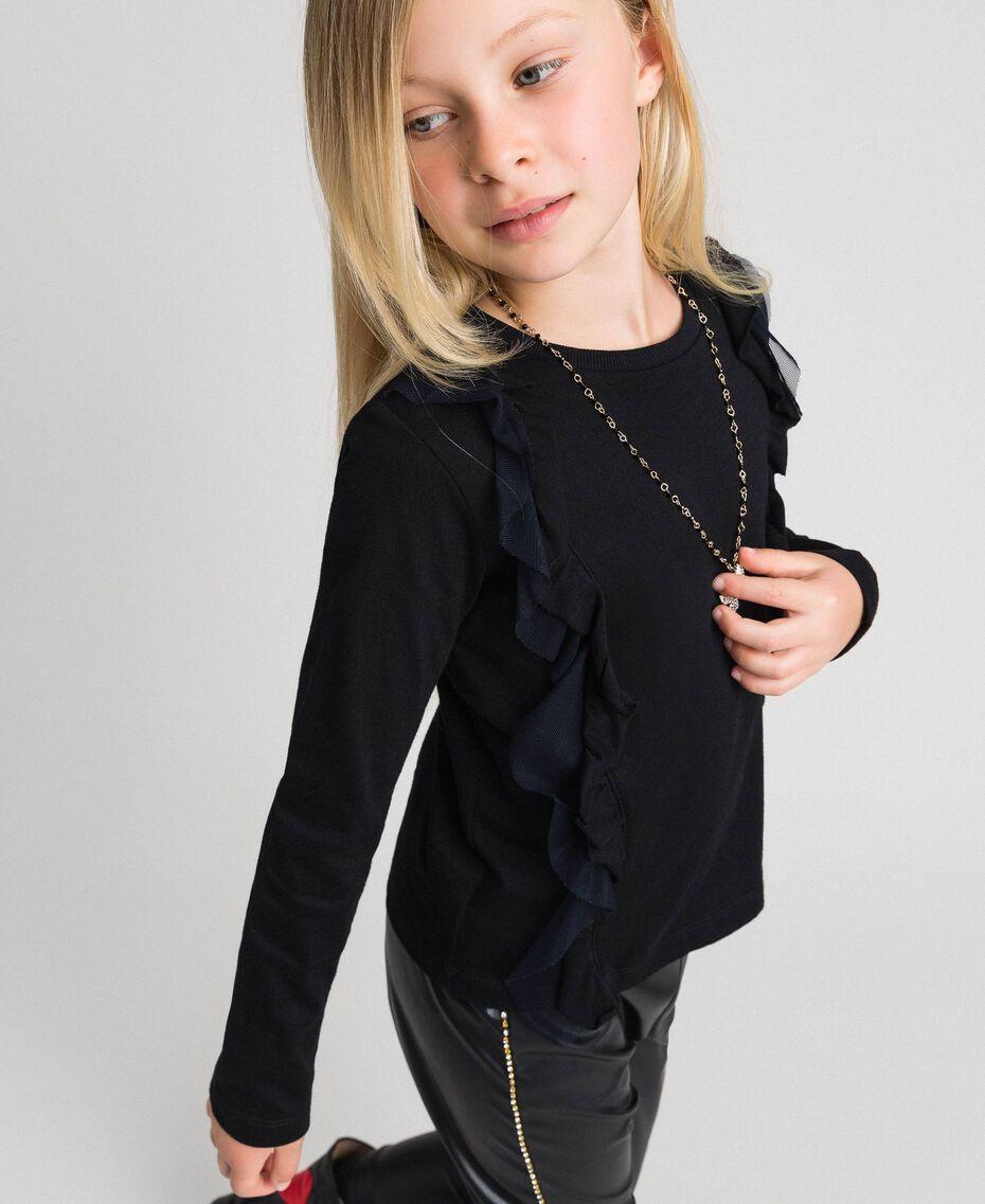 T-shirt con volant in tulle e collana Nero Bambina 192GJ2433-02