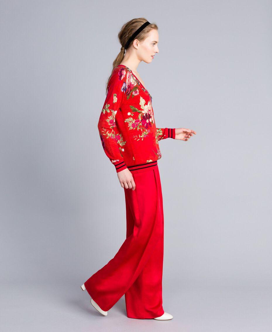 Pull en laine imprimée avec strass Imprimé Jardin Rouge Femme PA83KA-02
