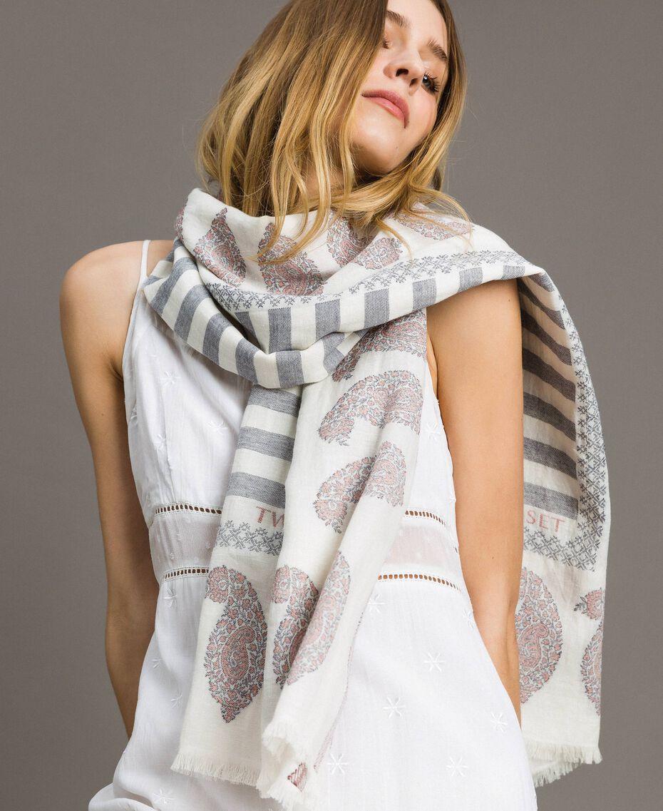 Keffieh en coton et lin Jacquard Noir / Blanc Neige Femme 191TO5301-0S