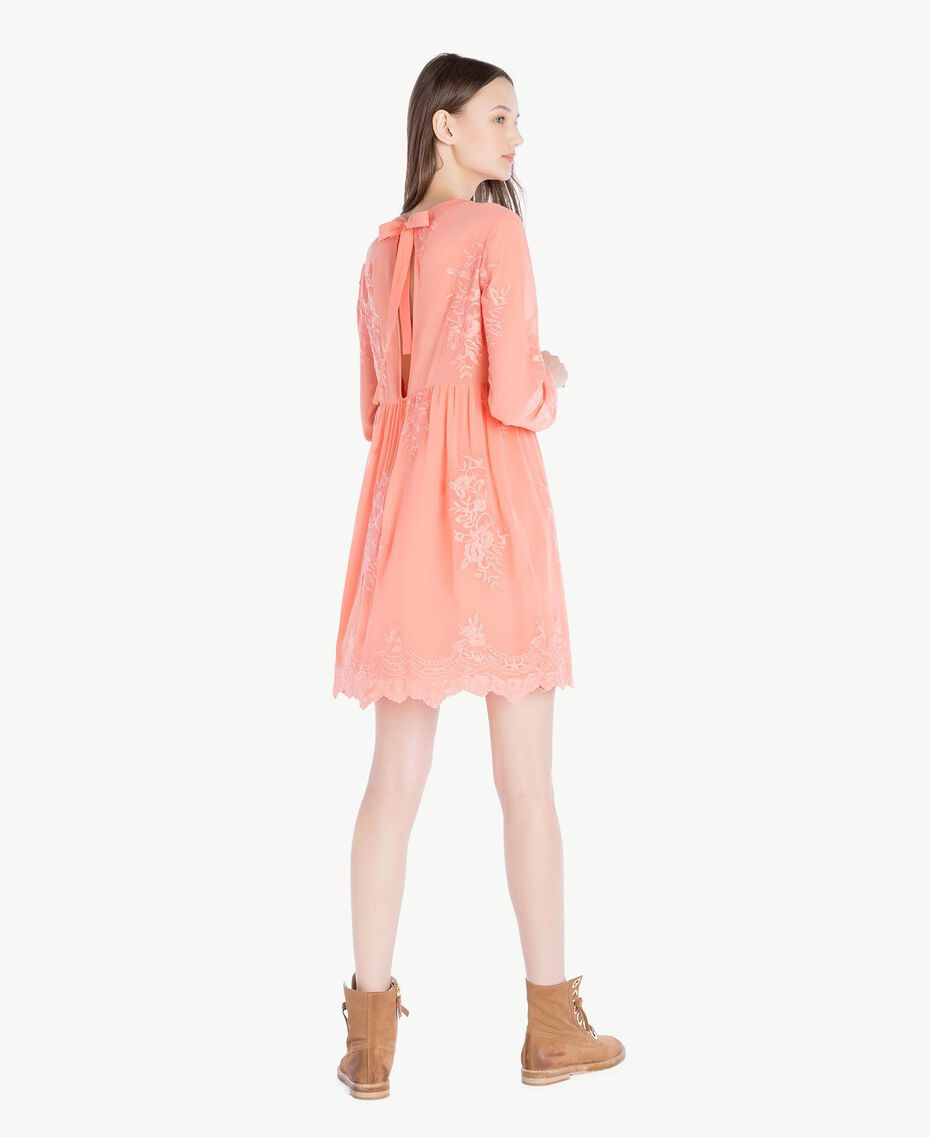 Embroidered dress Coral Pink Woman SS82JD-03