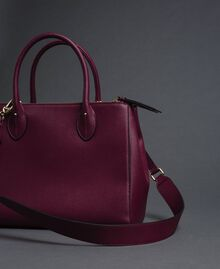 Borsa shopper in similpelle con borchie Rosso Beet Donna 192TA7210-02