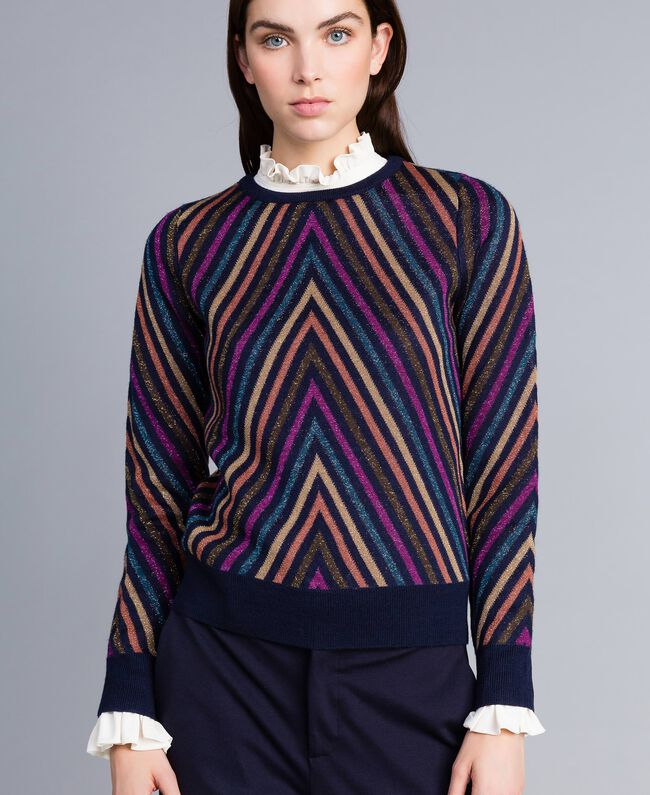 Pullover aus Lurexjacquard mit mehrfarbigem Streifenmuster Jacquard Blau / Lurexstreifen Frau TA838C-04