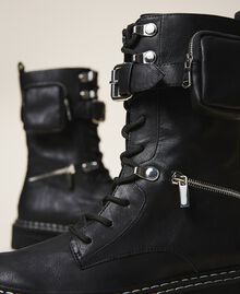 Combat boots with zip and side pocket Black Woman 202MCT122-04