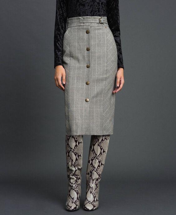 Mid-length glen plaid skirt