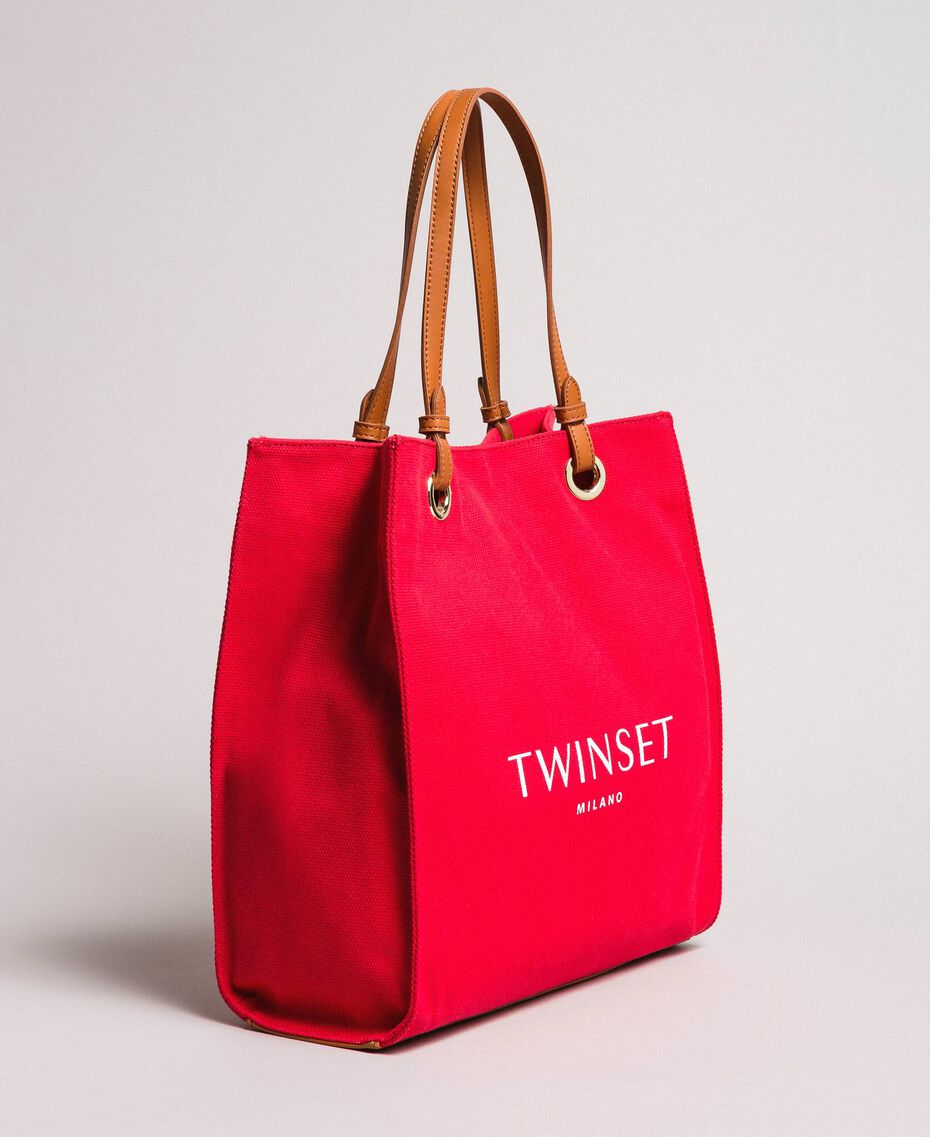 """Medium canvas shopping bag with logo """"Lipstick Red"""" Woman 191TO8200-02"""