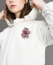 "Taffeta and knit sweatshirt ""Silk"" White Woman 191TP2041-04"
