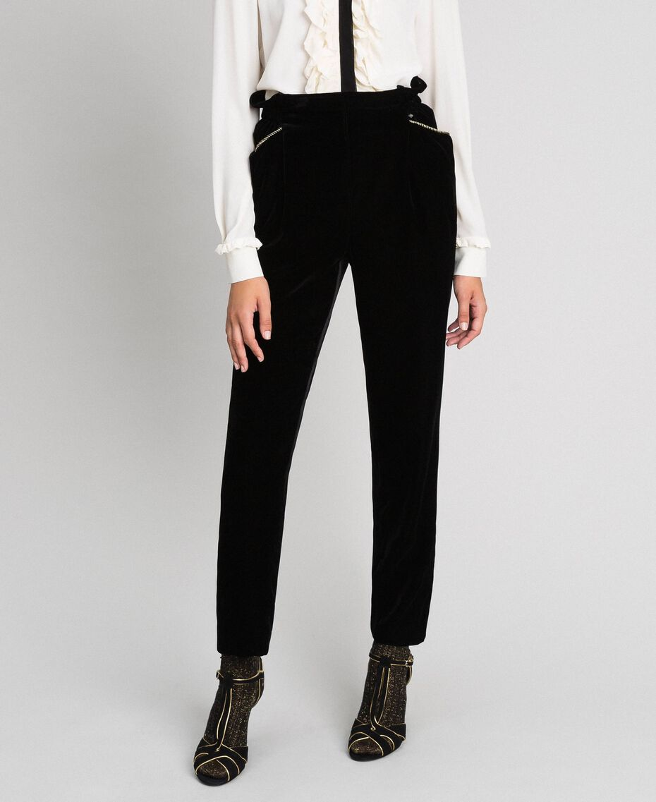 Velvet trousers Black Woman 192TT2420-01