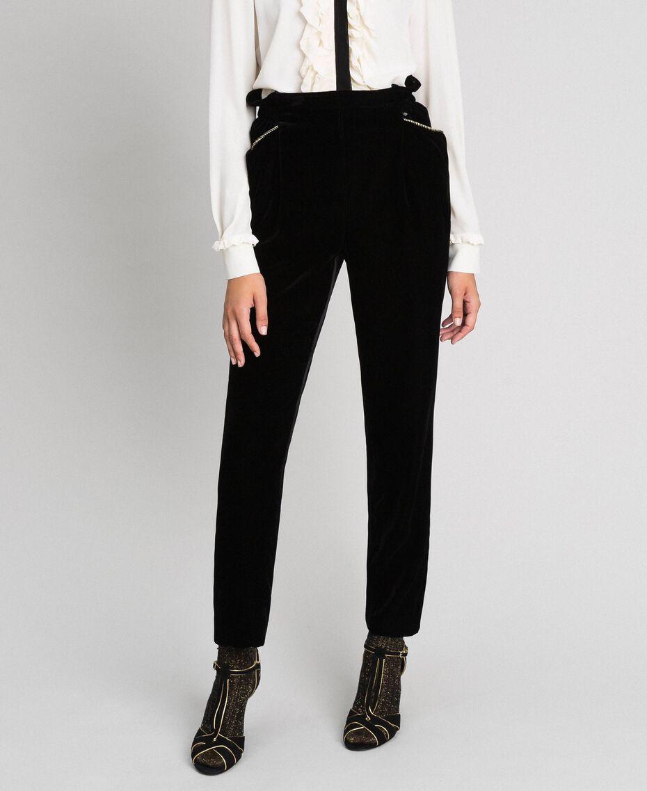 Pantaloni in velluto Nero Donna 192TT2420-01