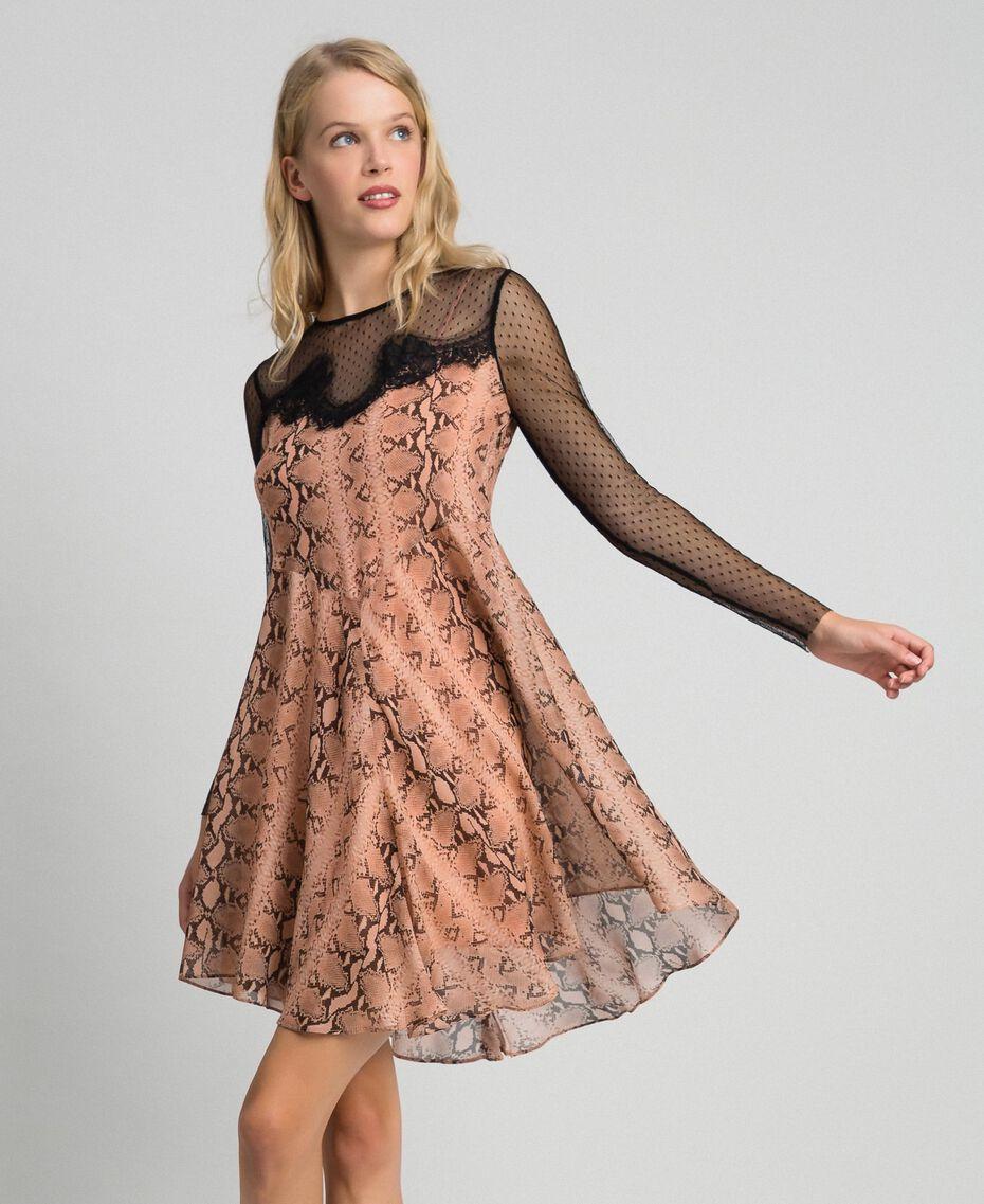 Платье из жоржета с животным принтом Принт Питон Верблюжий женщина 192TT2273-02