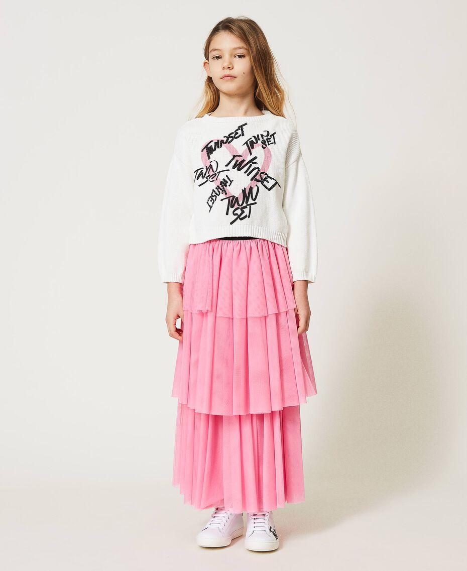 """Long tulle skirt """"Rose Bloom"""" Pink Child 211GJ2271-02"""