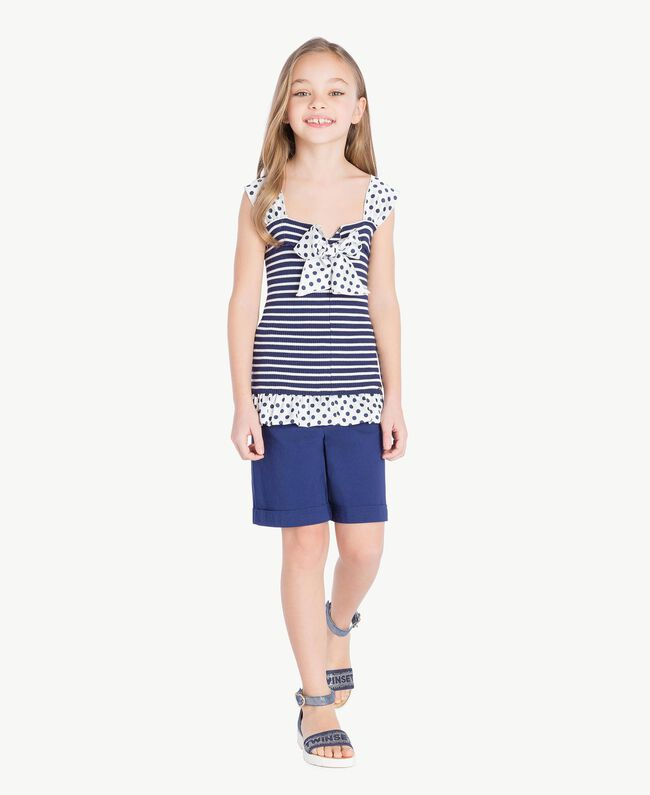 "Striped top Ocean Blue / ""Papyrus"" White Stripes / Flower Print Child GS83BB-06"