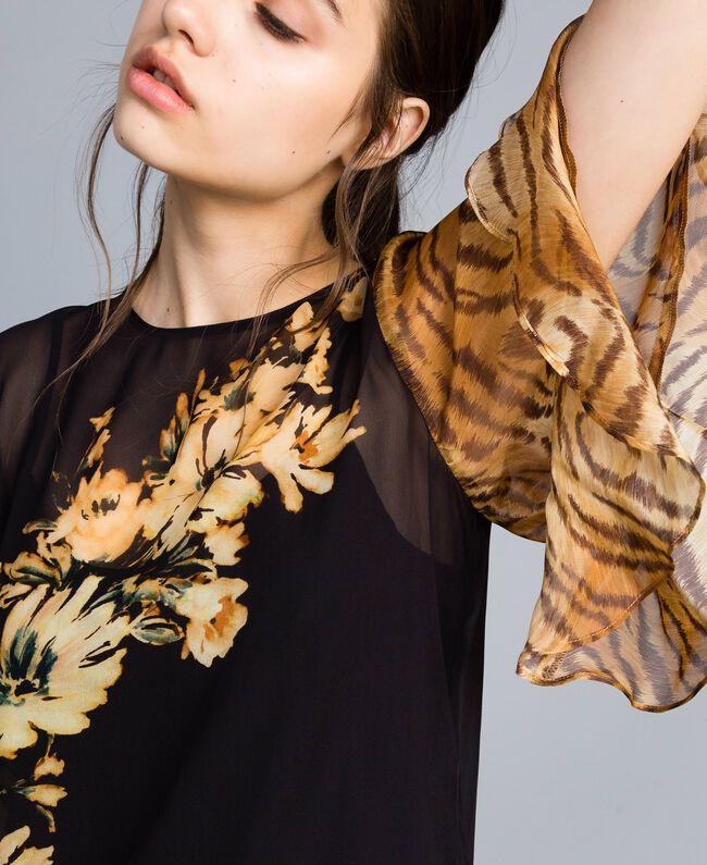 Блуза из жоржета с комбинацией принтов Набивной Цветы/Тигровый женщина TA825D-01