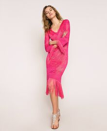 """Lace stitch dress with fringes """"Jazz"""" Pink Woman 201TT3010-01"""
