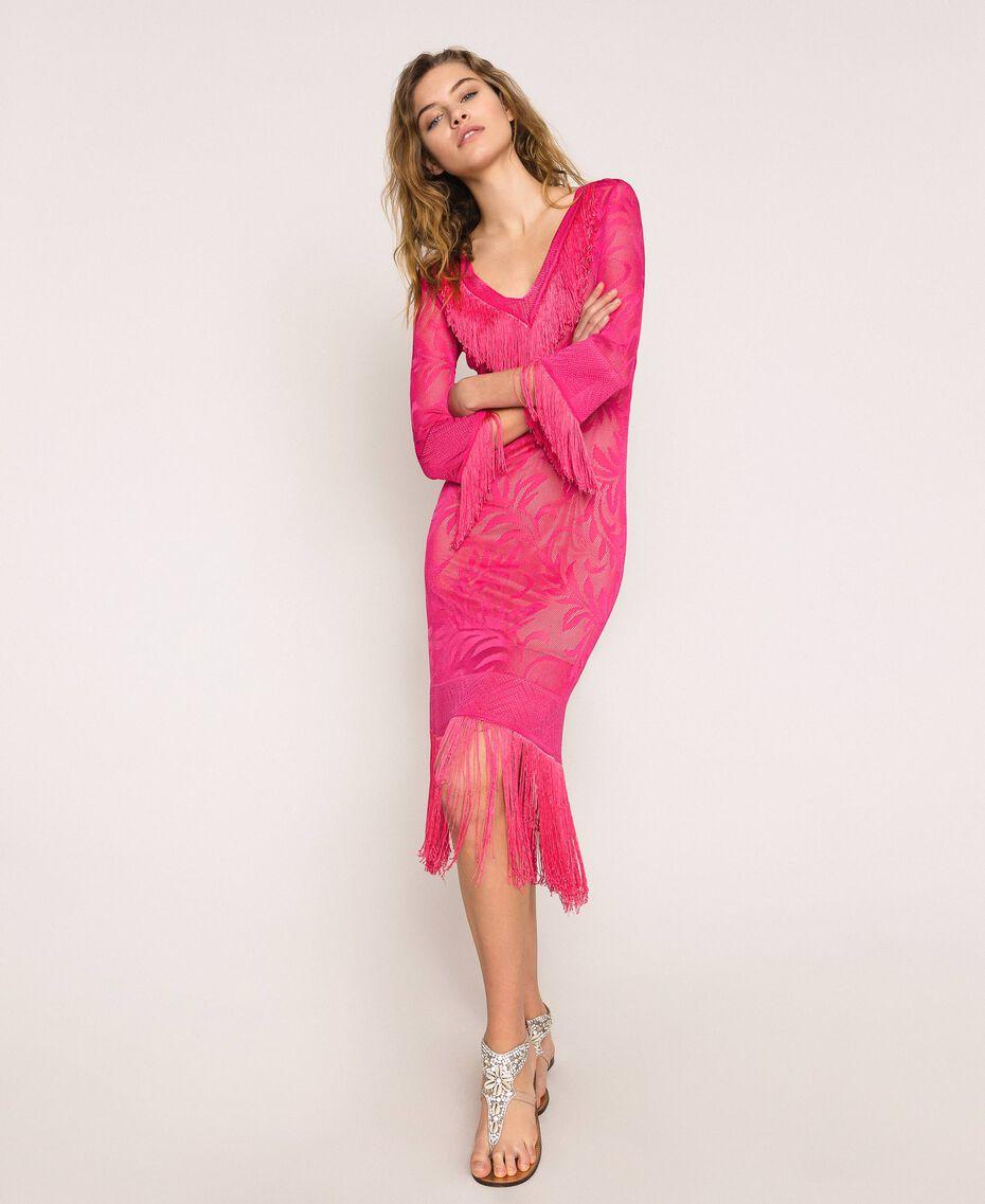Robe en dentelle filet avec franges Rose «Jazz» Femme 201TT3010-01