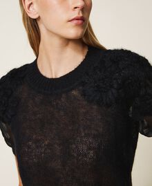 Mohair jumper with embroidery Black Woman 202TP3261-04