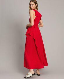 "Jacquard butterfly and flounce long dress ""Lipstick Red"" Woman 191TT2144-03"